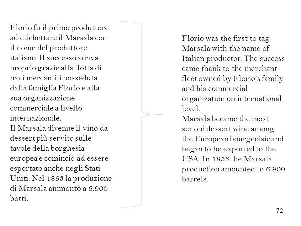 Florio fu il primo produttore ad etichettare il Marsala con il nome del produttore italiano. Il successo arriva proprio grazie alla flotta di navi mercantili posseduta dalla famiglia Florio e alla sua organizzazione commerciale a livello internazionale.