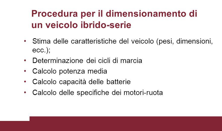Procedura per il dimensionamento di un veicolo ibrido-serie