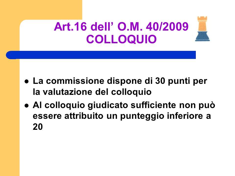 Art.16 dell' O.M. 40/2009 COLLOQUIO