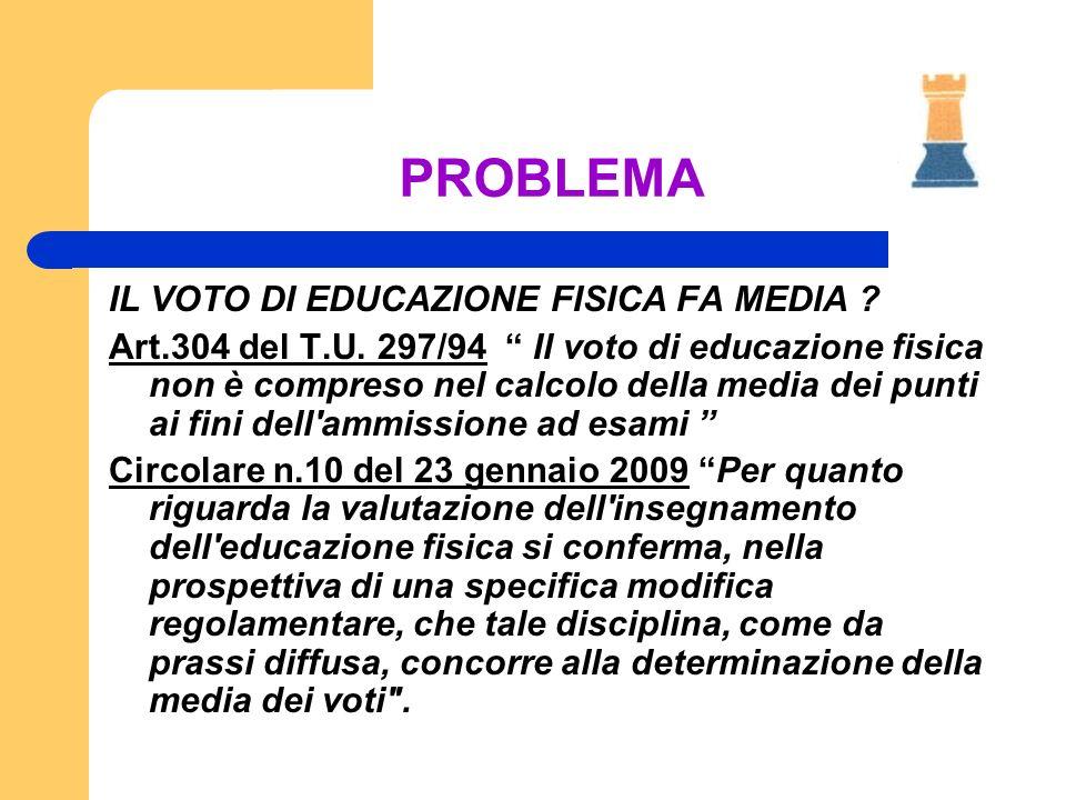 PROBLEMA IL VOTO DI EDUCAZIONE FISICA FA MEDIA