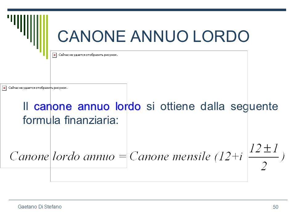 CANONE ANNUO LORDO Il canone annuo lordo si ottiene dalla seguente formula finanziaria: Gaetano Di Stefano.