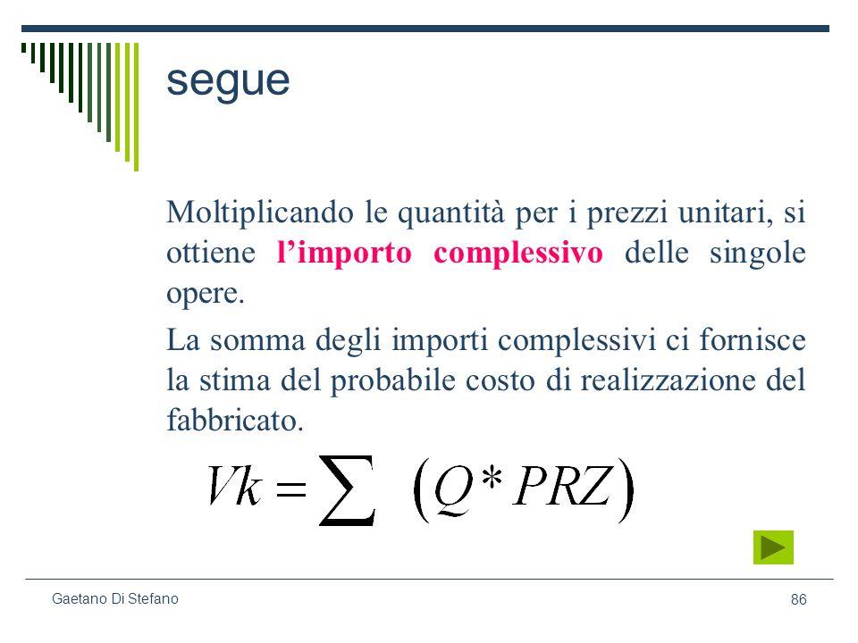 segue Moltiplicando le quantità per i prezzi unitari, si ottiene l'importo complessivo delle singole opere.