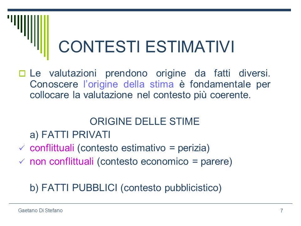 CONTESTI ESTIMATIVI