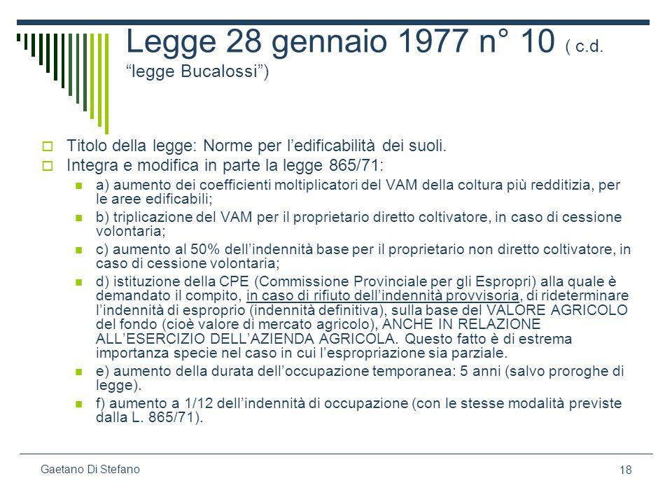 Legge 28 gennaio 1977 n° 10 ( c.d. legge Bucalossi )