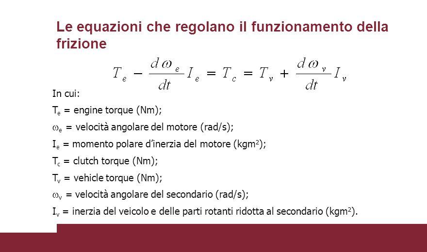 Le equazioni che regolano il funzionamento della frizione