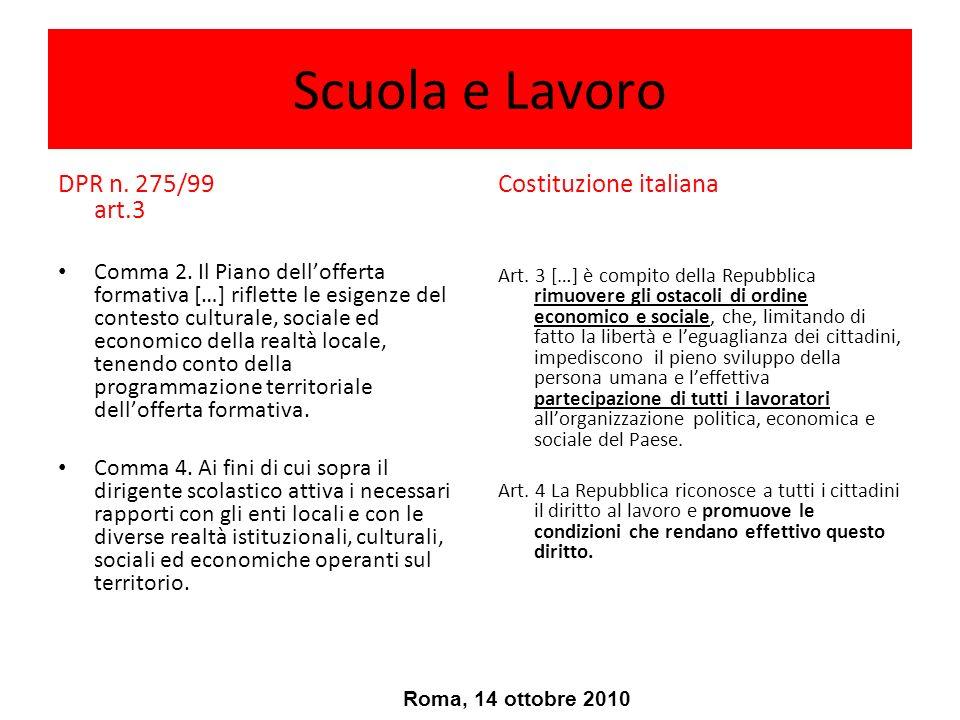Scuola e Lavoro DPR n. 275/99 art.3 Costituzione italiana