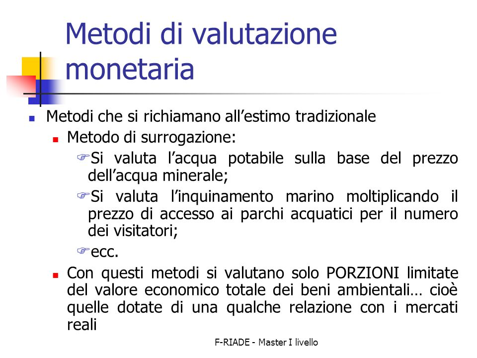 Metodi di valutazione monetaria