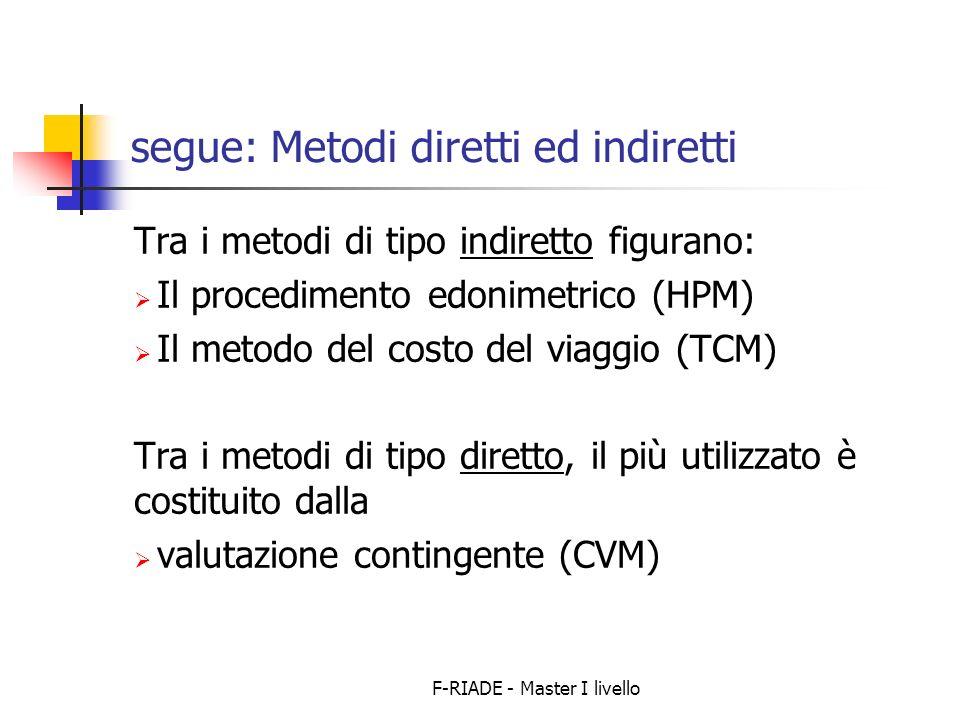 segue: Metodi diretti ed indiretti