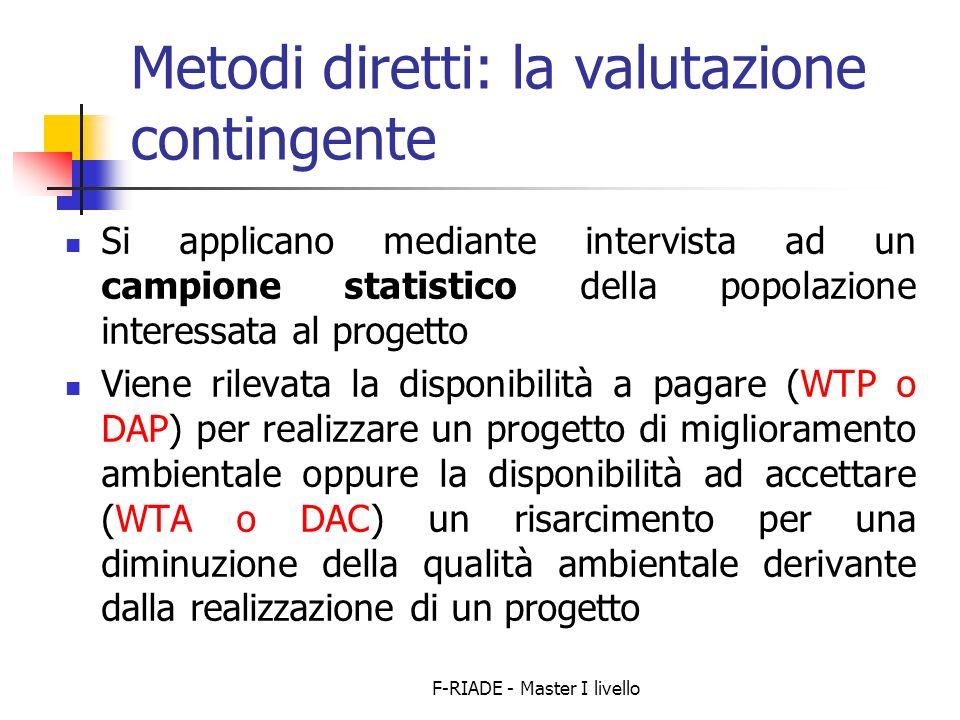 Metodi diretti: la valutazione contingente