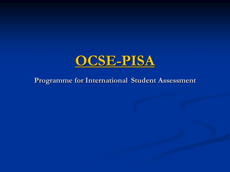 OCSE-PISA Programme for International Student Assessment