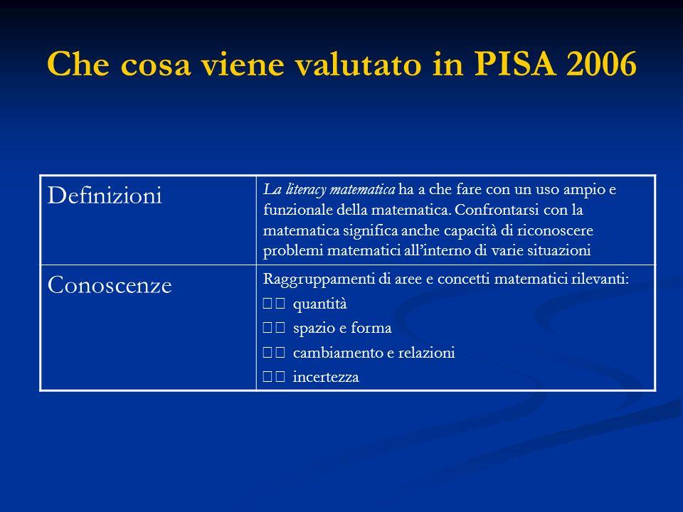 Che cosa viene valutato in PISA 2006