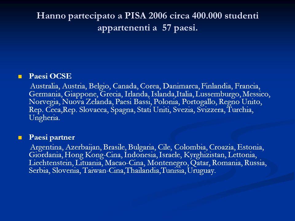 Hanno partecipato a PISA 2006 circa 400