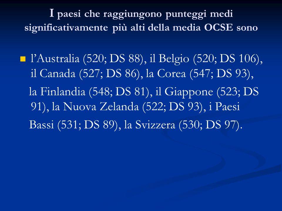 I paesi che raggiungono punteggi medi significativamente più alti della media OCSE sono