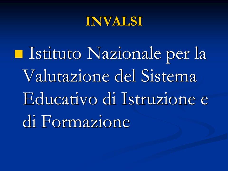INVALSI Istituto Nazionale per la Valutazione del Sistema Educativo di Istruzione e di Formazione