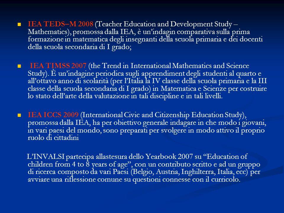 IEA TEDS–M 2008 (Teacher Education and Development Study – Mathematics), promossa dalla IEA, è un'indagin comparativa sulla prima formazione in matematica degli insegnanti della scuola primaria e dei docenti della scuola secondaria di I grado;