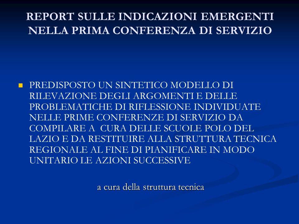 REPORT SULLE INDICAZIONI EMERGENTI NELLA PRIMA CONFERENZA DI SERVIZIO