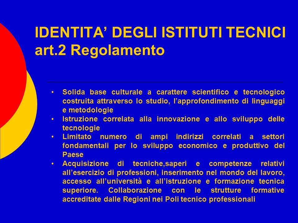 IDENTITA' DEGLI ISTITUTI TECNICI art.2 Regolamento