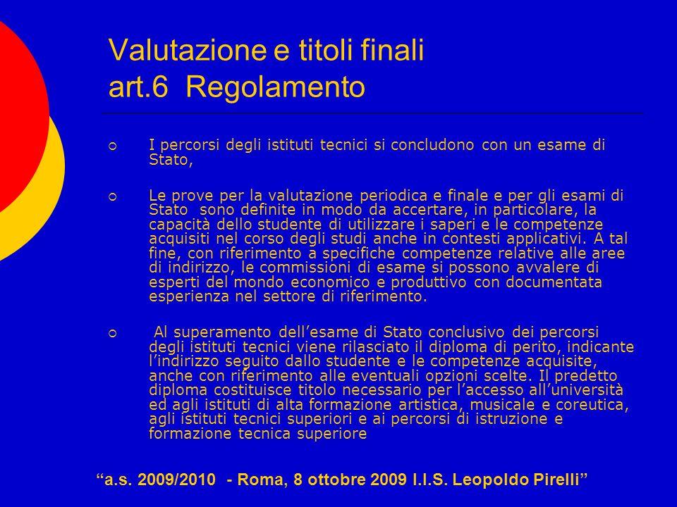 Valutazione e titoli finali art.6 Regolamento