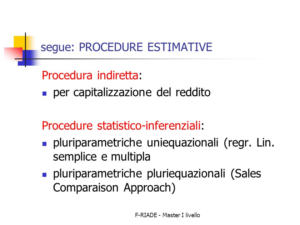 segue: PROCEDURE ESTIMATIVE