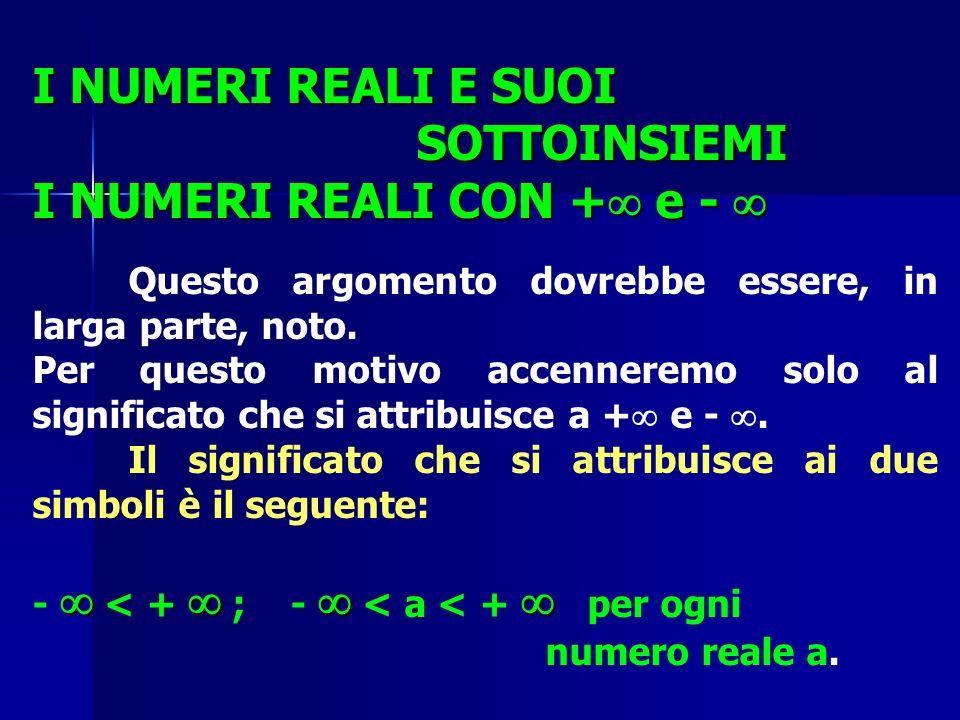 I NUMERI REALI E SUOI SOTTOINSIEMI I NUMERI REALI CON + e - 