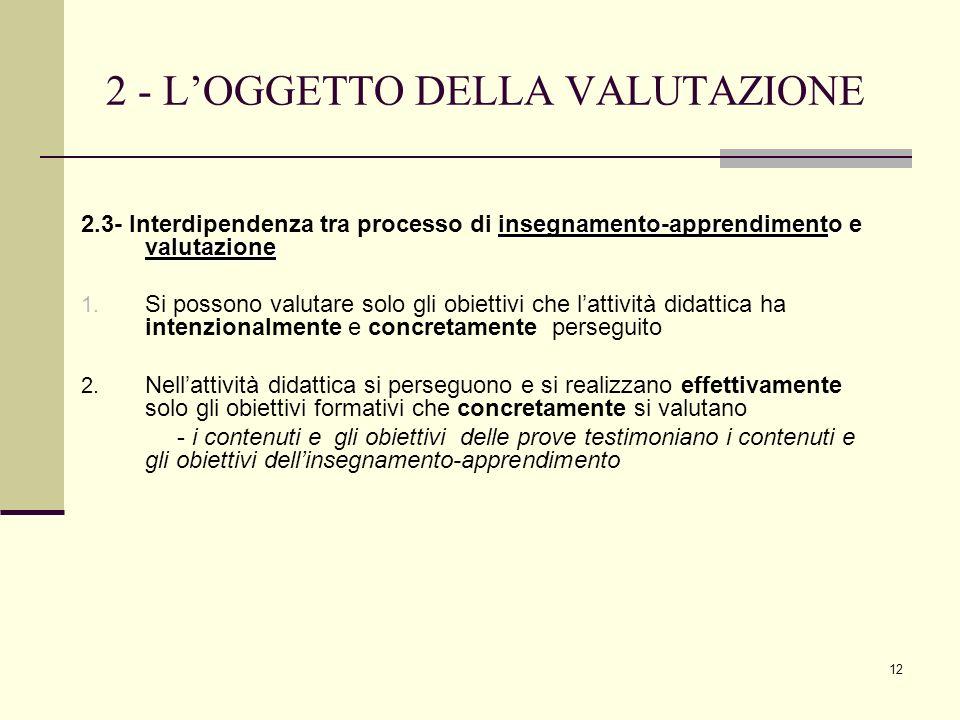 2 - L'OGGETTO DELLA VALUTAZIONE