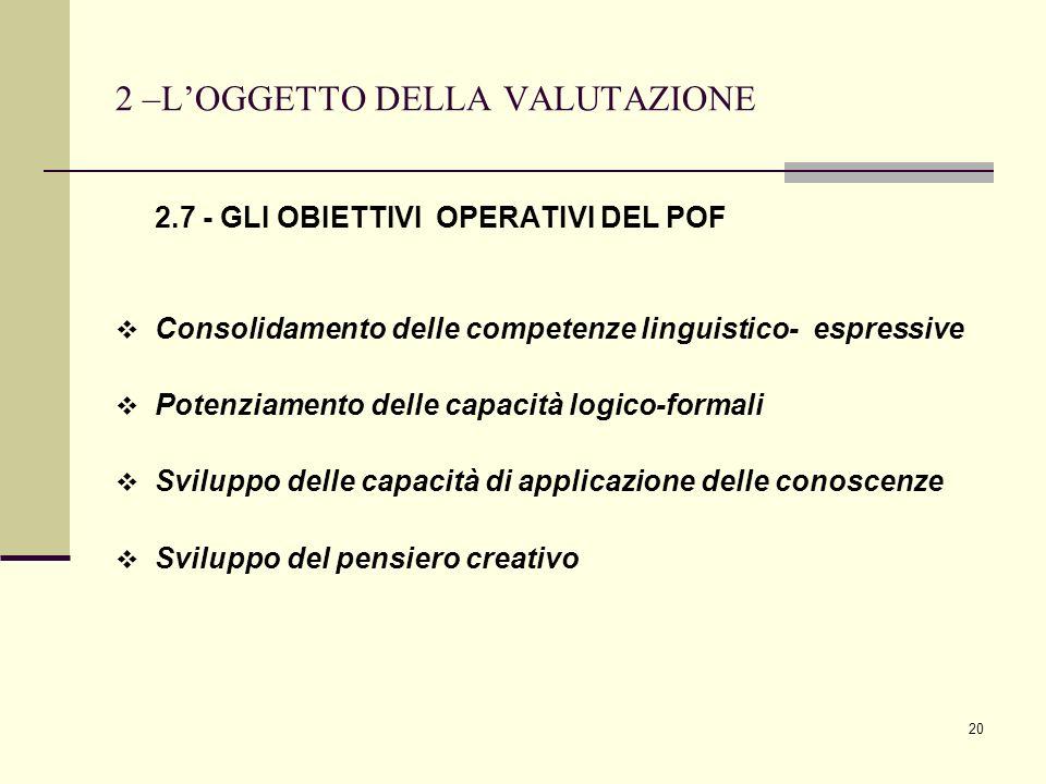 2 –L'OGGETTO DELLA VALUTAZIONE