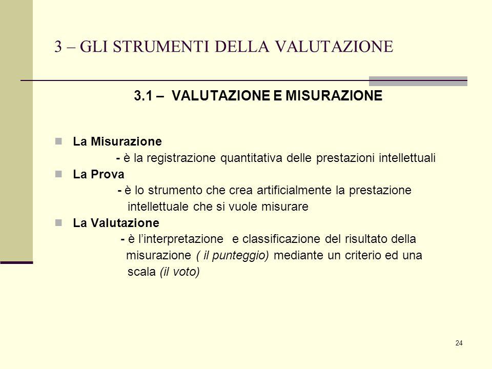 3 – GLI STRUMENTI DELLA VALUTAZIONE