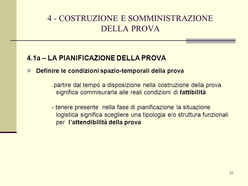 4 - COSTRUZIONE E SOMMINISTRAZIONE DELLA PROVA