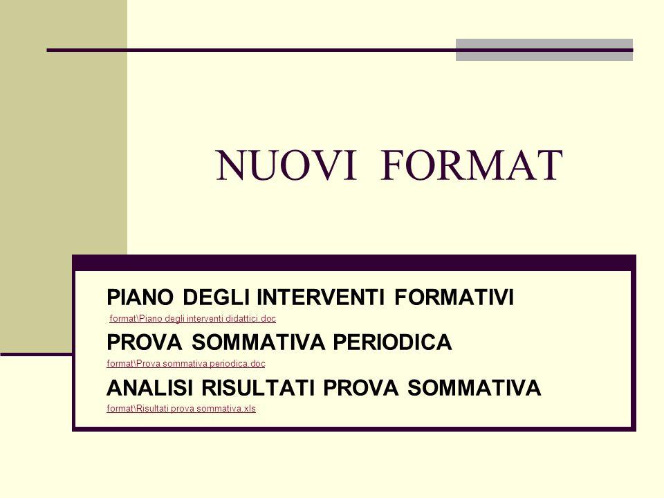 NUOVI FORMAT PIANO DEGLI INTERVENTI FORMATIVI