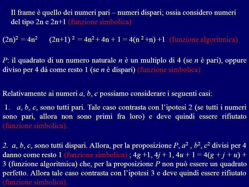 Il frame è quello dei numeri pari – numeri dispari; ossia considero numeri del tipo 2n e 2n+1 (funzione simbolica)