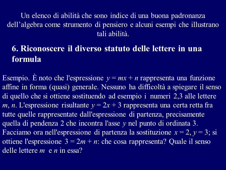 6. Riconoscere il diverso statuto delle lettere in una formula