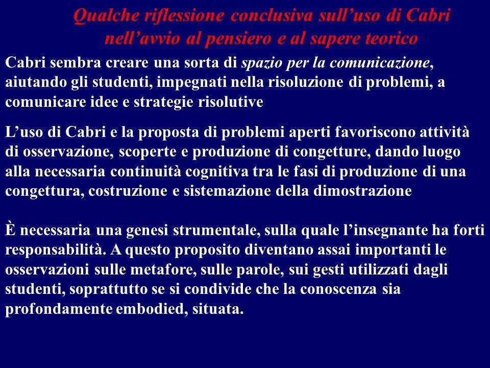Qualche riflessione conclusiva sull'uso di Cabri nell'avvio al pensiero e al sapere teorico
