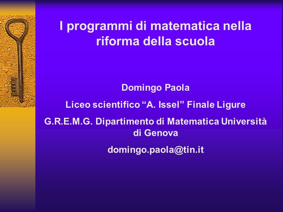 I programmi di matematica nella riforma della scuola