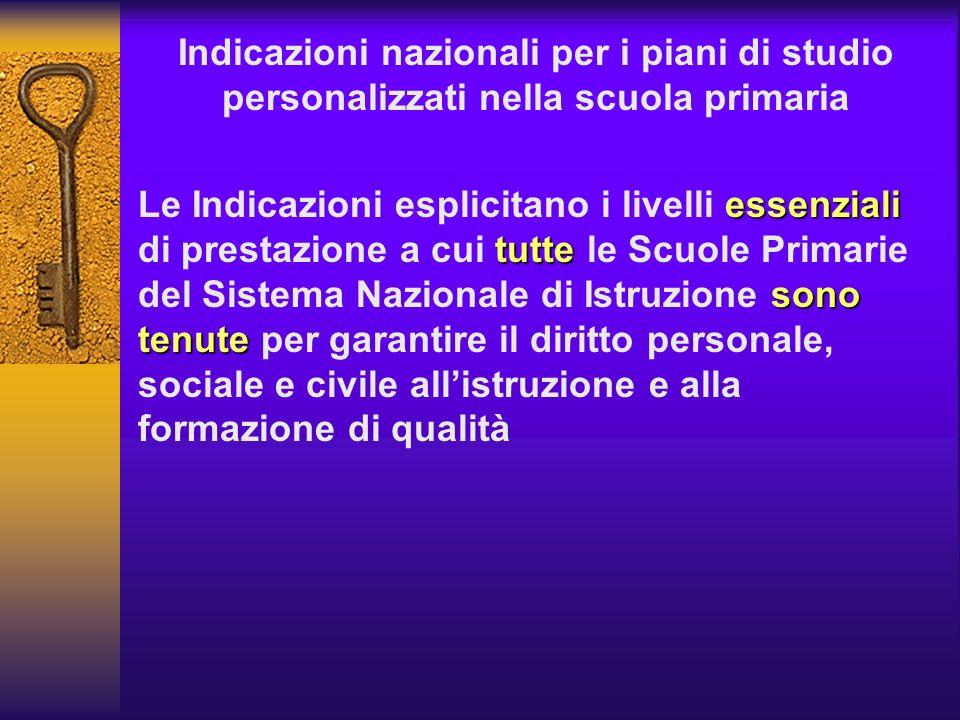 Indicazioni nazionali per i piani di studio personalizzati nella scuola primaria