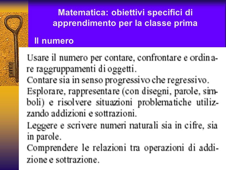 Matematica: obiettivi specifici di apprendimento per la classe prima