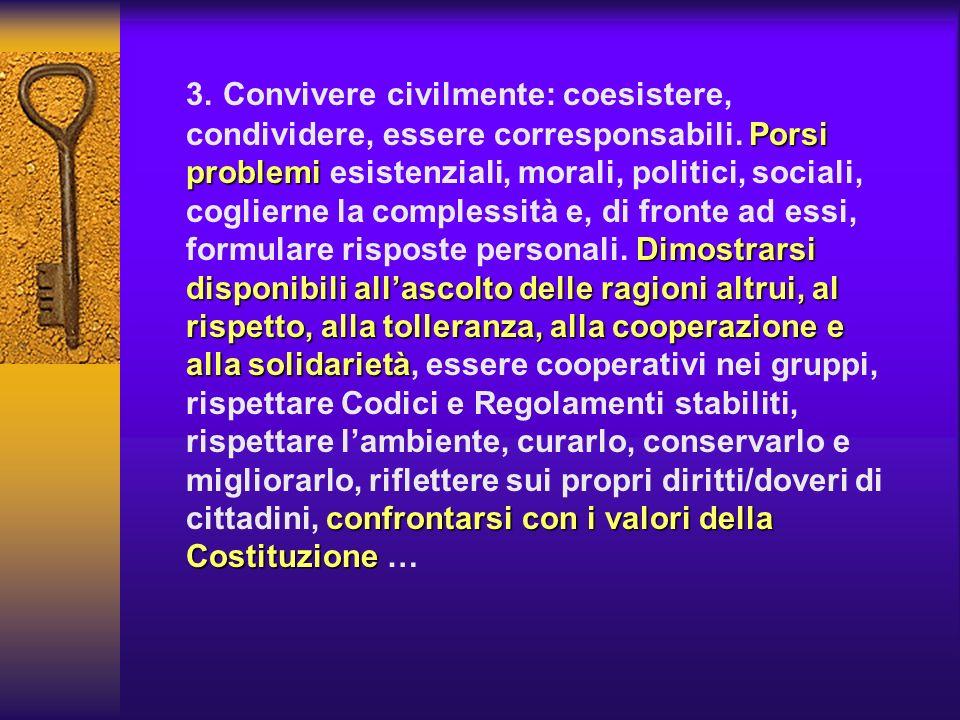 3. Convivere civilmente: coesistere, condividere, essere corresponsabili.