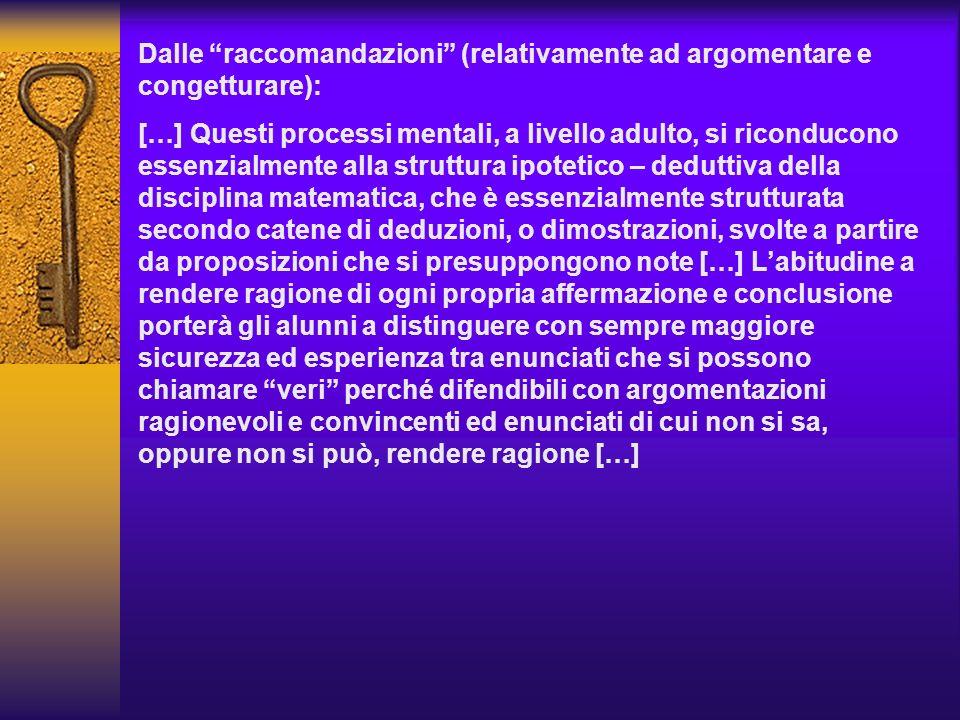 Dalle raccomandazioni (relativamente ad argomentare e congetturare):