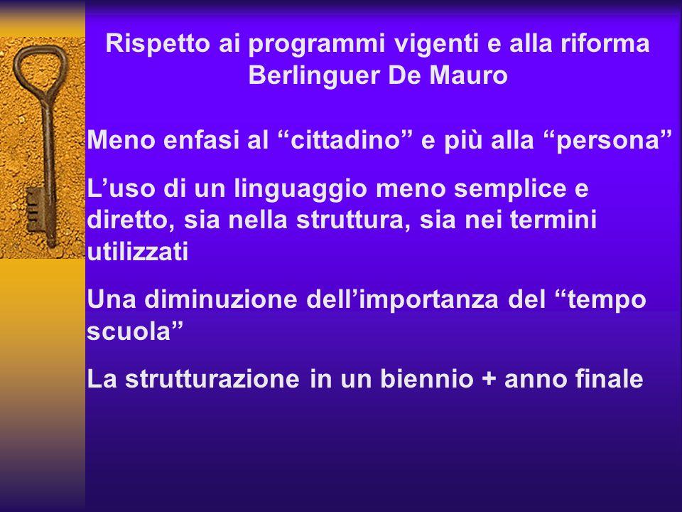 Rispetto ai programmi vigenti e alla riforma Berlinguer De Mauro