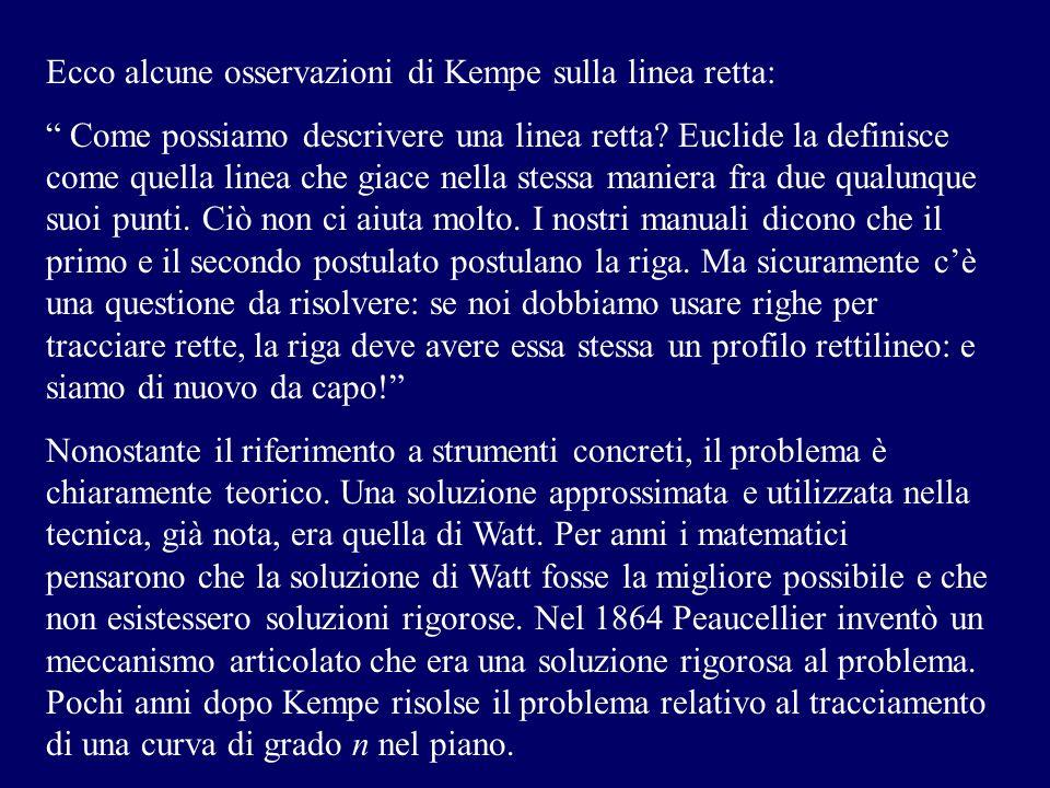 Ecco alcune osservazioni di Kempe sulla linea retta: