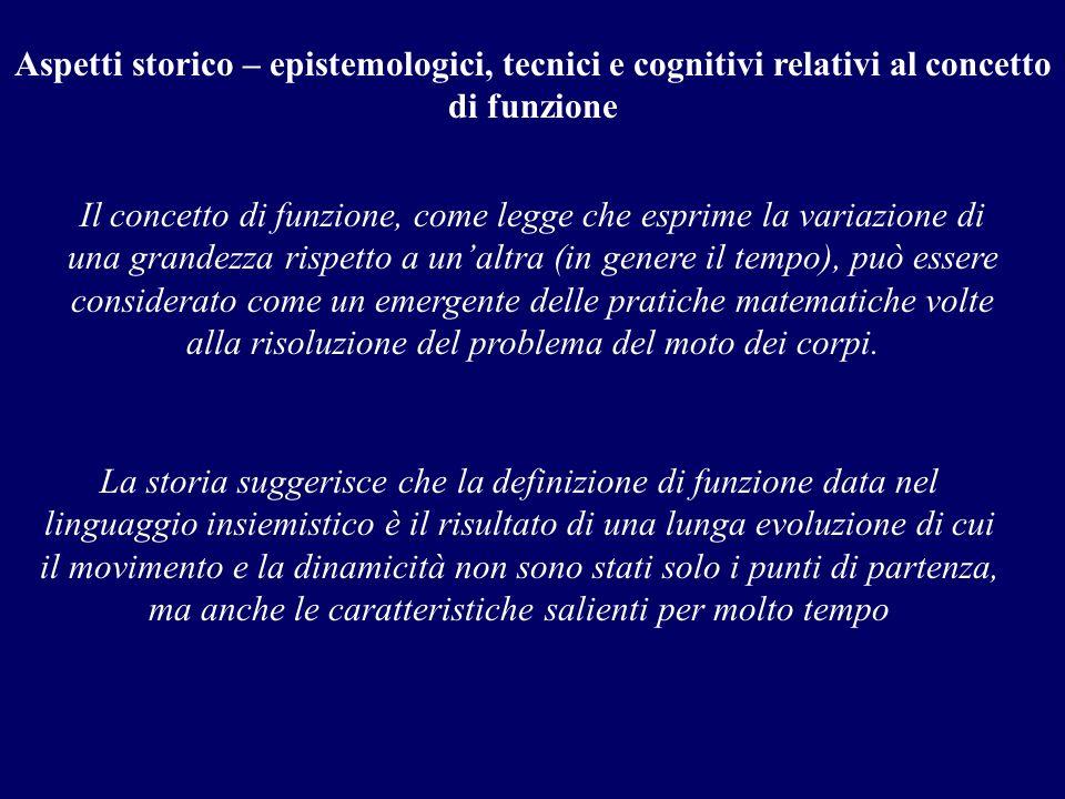 Aspetti storico – epistemologici, tecnici e cognitivi relativi al concetto di funzione