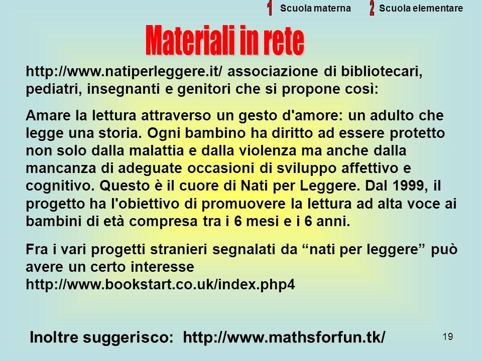 1 2 Materiali in rete Inoltre suggerisco: http://www.mathsforfun.tk/