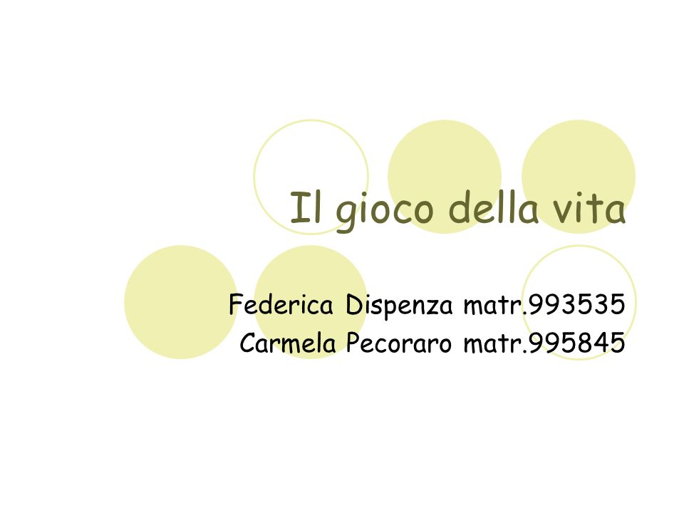 Federica Dispenza matr.993535 Carmela Pecoraro matr.995845