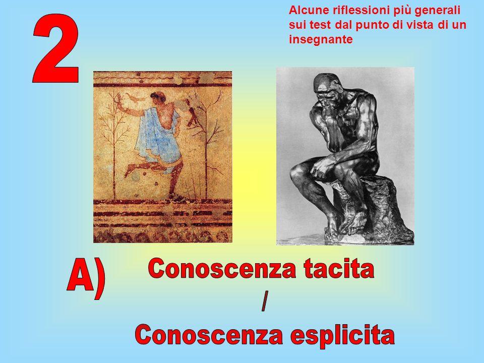 2 A) Conoscenza tacita / Conoscenza esplicita