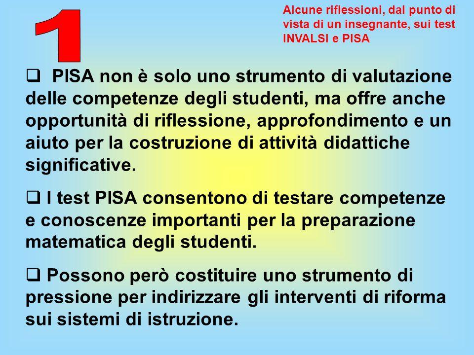 Alcune riflessioni, dal punto di vista di un insegnante, sui test INVALSI e PISA