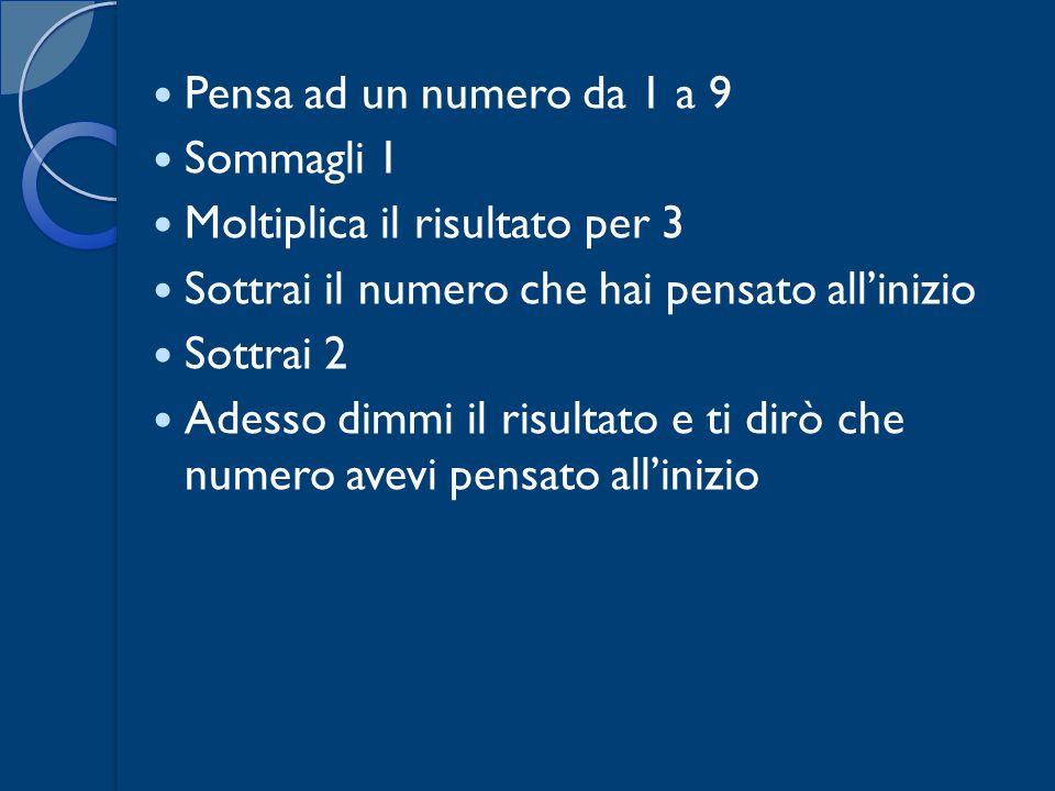 Pensa ad un numero da 1 a 9Sommagli 1. Moltiplica il risultato per 3. Sottrai il numero che hai pensato all'inizio.