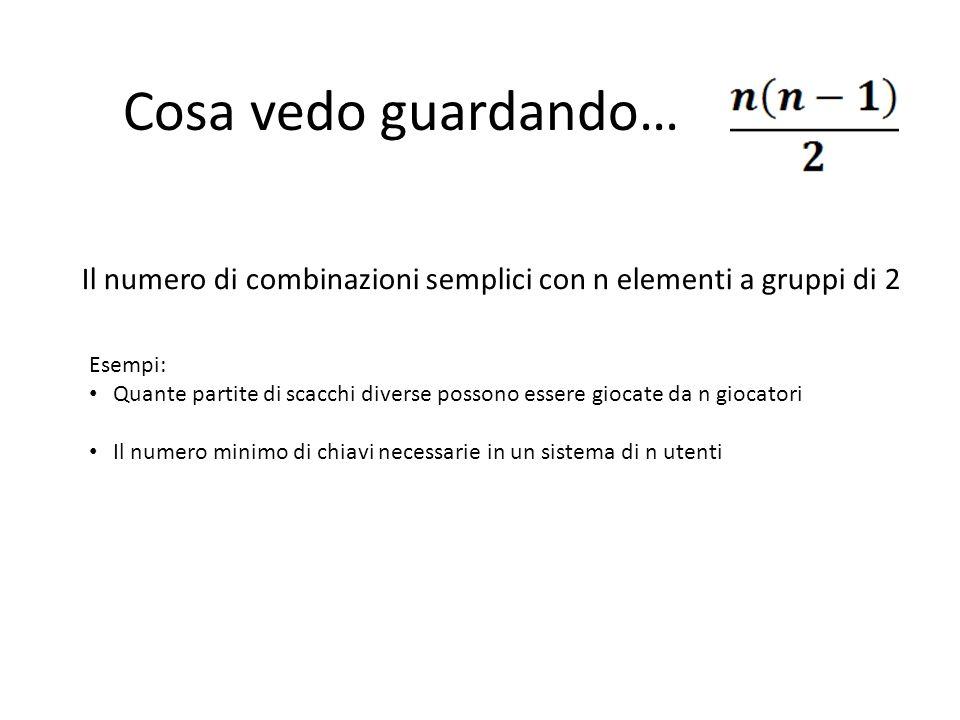 Cosa vedo guardando… Il numero di combinazioni semplici con n elementi a gruppi di 2. Esempi: