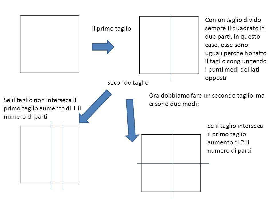 Con un taglio divido sempre il quadrato in due parti, in questo caso, esse sono uguali perché ho fatto il taglio congiungendo i punti medi dei lati opposti