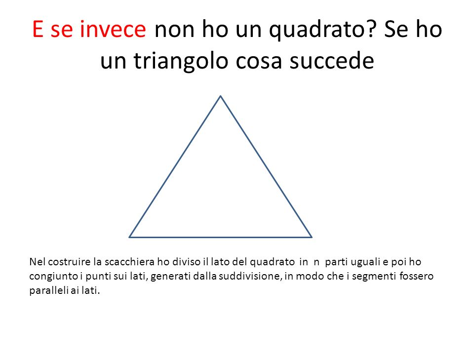 E se invece non ho un quadrato Se ho un triangolo cosa succede