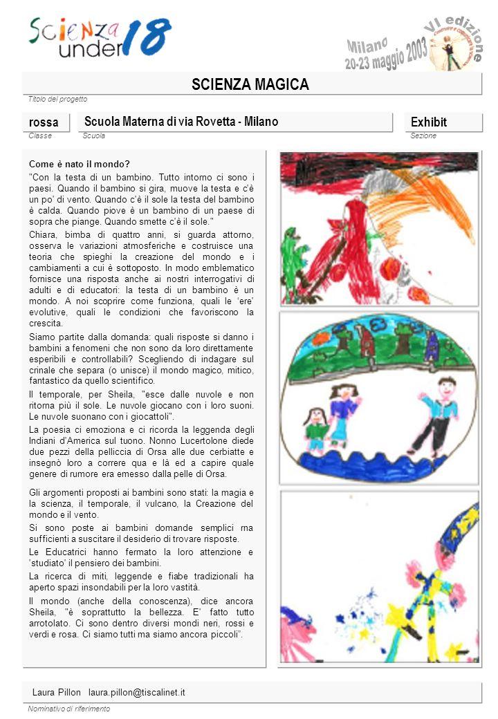 Milano SCIENZA MAGICA rossa Scuola Materna di via Rovetta - Milano