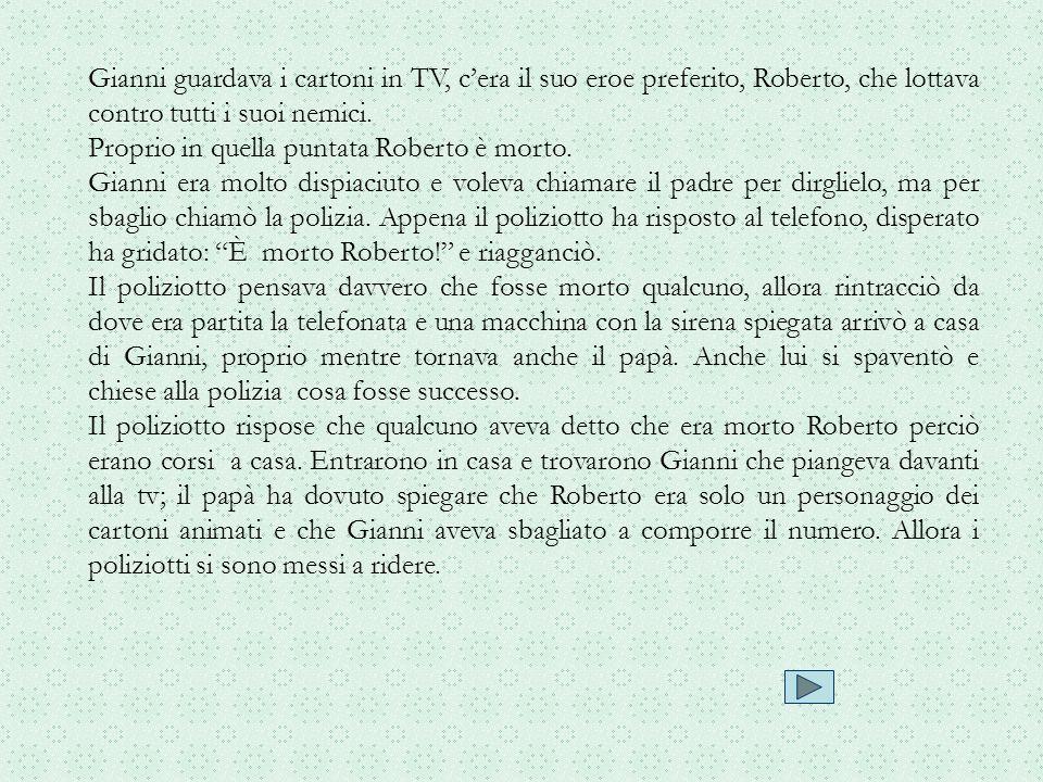 Gianni guardava i cartoni in TV, c'era il suo eroe preferito, Roberto, che lottava contro tutti i suoi nemici.